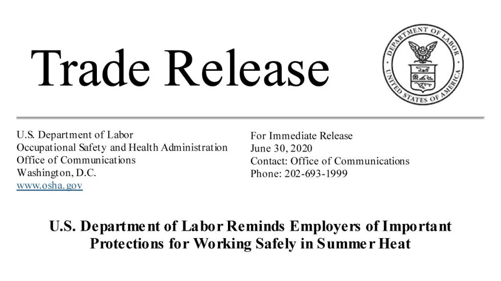 U.S. Department of Labor Reminds Employers of Important Protections for Working Safely in Summer Heat